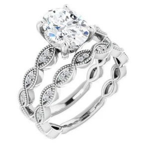 White GOld Vintage Engagement ring and wedding band