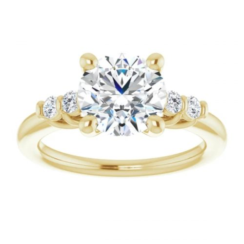 2 Carat Round Brilliant Cut with side accent vintage ring
