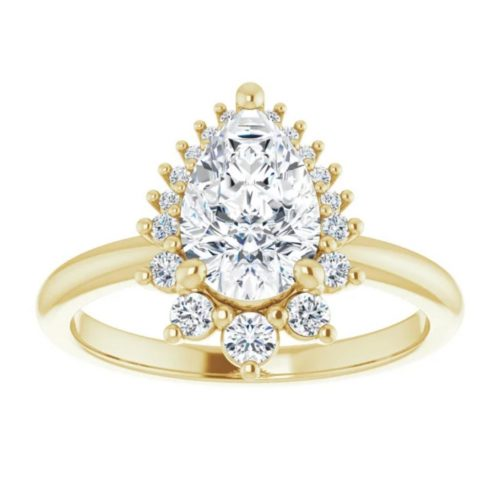 Pear Diamond Rinf with tapering Crown Halo